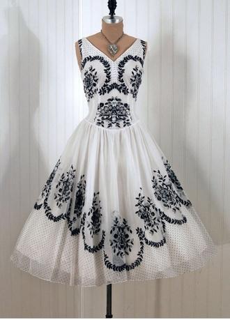 dress vintage dress black and white dress polka dots lace dress