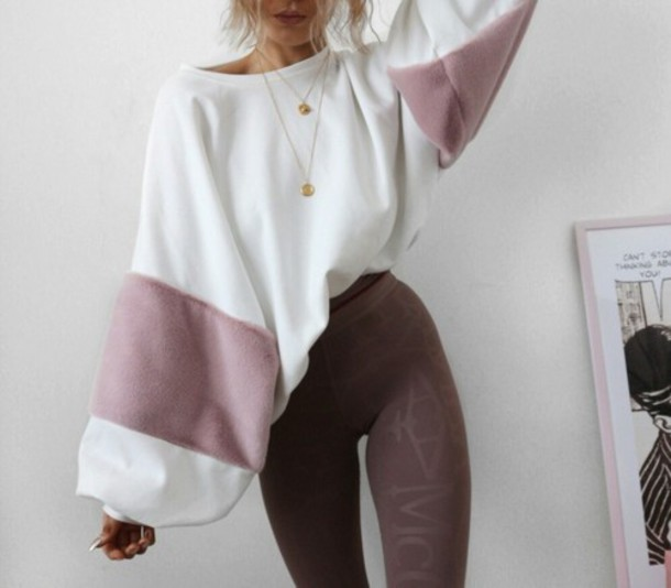 sweater white cream purple fall outfits leggings gold necklace layered necklace stripes