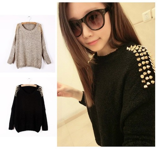Women Rock Embellished Spiked Studs Chain Batwing Sleeve Jumper Sweater Knitwear | eBay