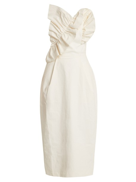 dress strapless ruffle white