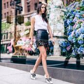 skirt,black skirt,heels,tumblr,mini skirt,leather skirt,high heels,top,white top,sleeveless,sleeveless top,shoes,shirt