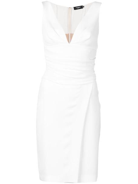 Dsquared2 dress wrap dress women spandex white wool