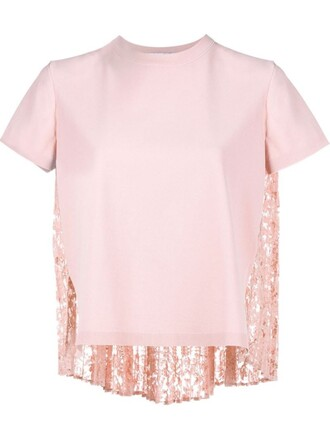 top pleated back lace purple pink