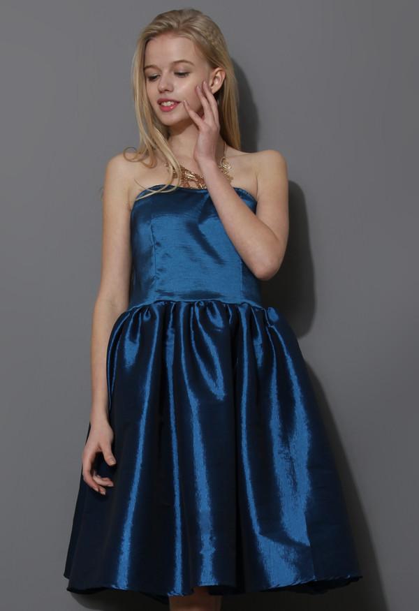 dress bustier strapless blue