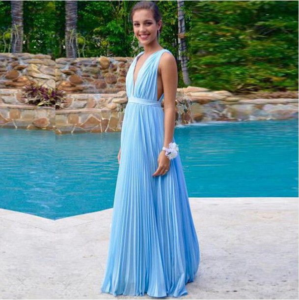 Dress: sky blue beach garden party dress sky blue party dress ...