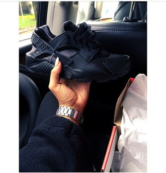 shoes sneakers black dope hot fire fashion nike huarache