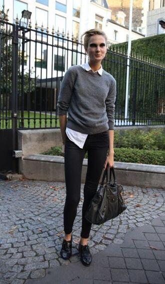 shoes grey sweater white shirt black skinny jeans black bag black oxford shoes blogger