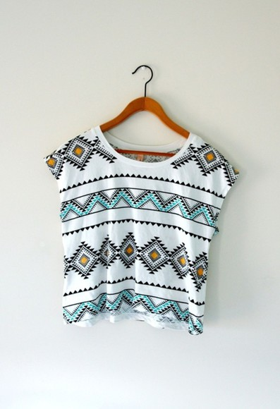 cropped crop shirt orange crop aztec pattern