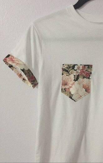 shirt tee-shirt whte shirt floral t shirt