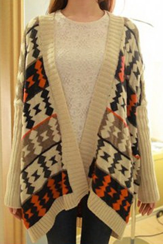 cardigan tribal cardigan aztec zaful oversized sweater tribal pattern streetwear fall outfits fall sweater