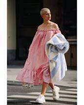 dress,ruffle dress,off the shoulder dress,oversized,winter coat,white sneakers,platform sneakers