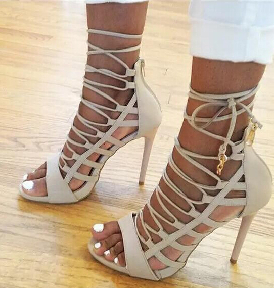 Shop Beige Collection Peep Toe Women Sandals Sexy Cutouts Lace Up ...