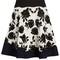Rose-intarsia a-line skirt