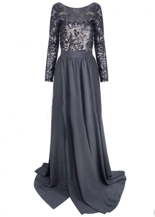 Felicia – black sequin backless maxi dress