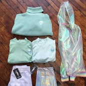 jacket,outfit,tumblr outfit,sweater,shirt,skirt,holographic,mint,mint green skirt,mint green shirt,rainbow,clear,cute,kawaii,kawaii grunge,tumblr,tumblr grunge,grunge