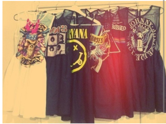 dress nirvana pink floyd rock the doors vintage classic ramones guns n roses