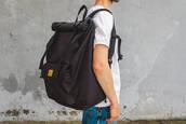 bag,black,cordura,backpack,rucksack,sac a dos,rolltop backpack,rolltop bag,travel,travel bag,travel backpack,mens accessories,accessories,black backpack