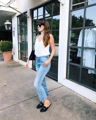 top tumblr white top camisole denim jeans blue jeans loafers mules shoes flats