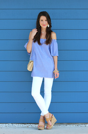 diary of a debutante,blogger,top,jeans,shoes,bag,jewels,striped off shoulder top,blue off shoulder top,off the shoulder,off the shoulder top,nude bag,shoulder bag,white jeans,spring outfits,necklace,earrings,accessories,sandals,nude sandals,wedges,wedge sandals