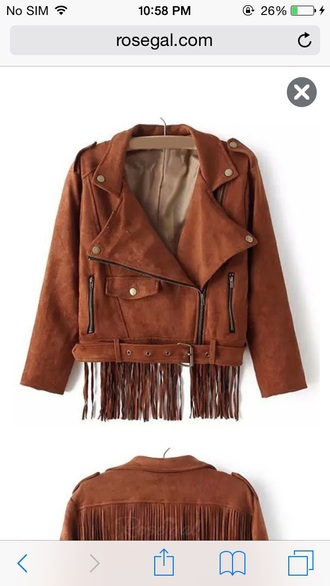 brown jacket fringed jacket fringes suede suede jacket buttons zip buckle fall jacket college fall colors