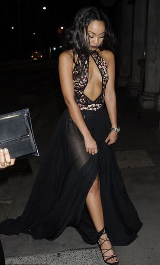 skirt top gown sheer maxi skirt bodysuit plunge v neck cut-out summer outfits prom dress leigh-anne pinnock little mix