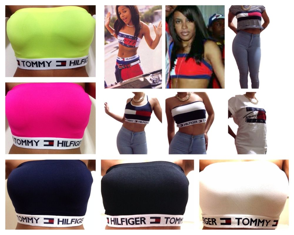 Aaliyah Shirt Tommy Hilfiger Tube Top Bandeau Crop Top Oversized T Shirt | eBay