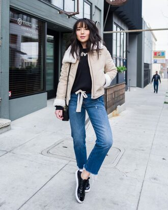 the fancy pants report blogger jacket sweater jeans shoes winter outfits sneakers