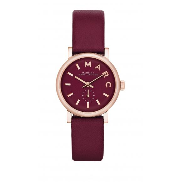Great Deals on Marc By Marc Jacobs Baker Mini Rose Tone Maroon Leather Watch MBM1271 - Watchwink.com