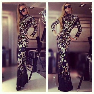 maxi gown leopard print turtleneck dress