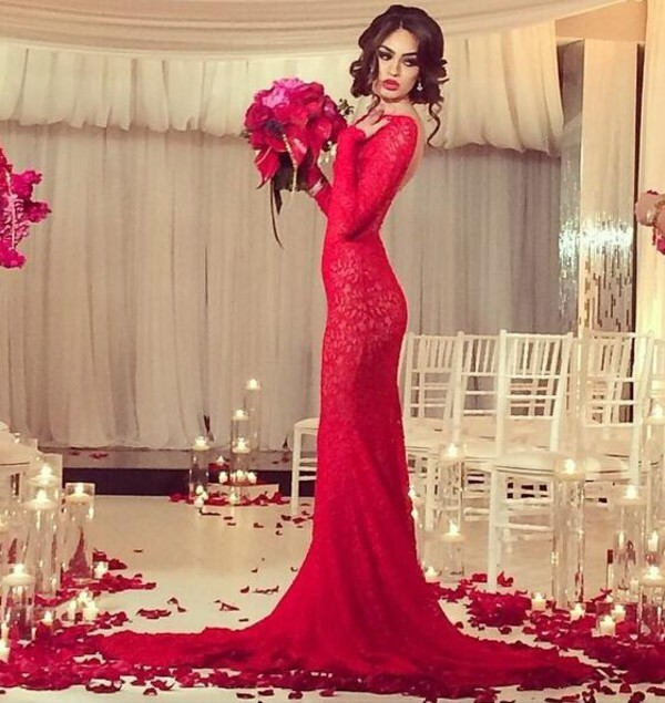 red dress arabic backless evening dresses long sleeves backless wedding dress 2015 wedding dresses lace wedding dress