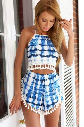 top crop tops halter top high waisted shorts print romper shorts tie dye bikiniluxe