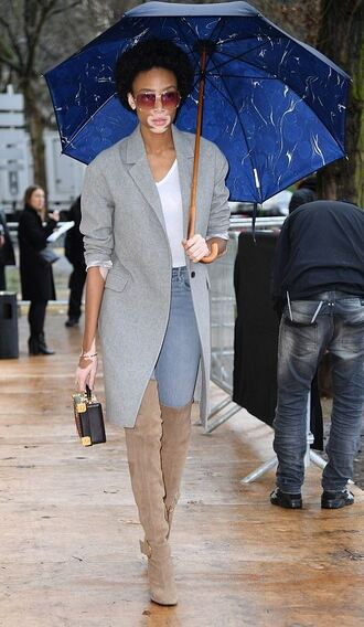 jacket blazer grey blazer winnie harlow model off-duty boots over the knee boots jeans streetstyle fashion week 2017 paris fashion week 2017 top
