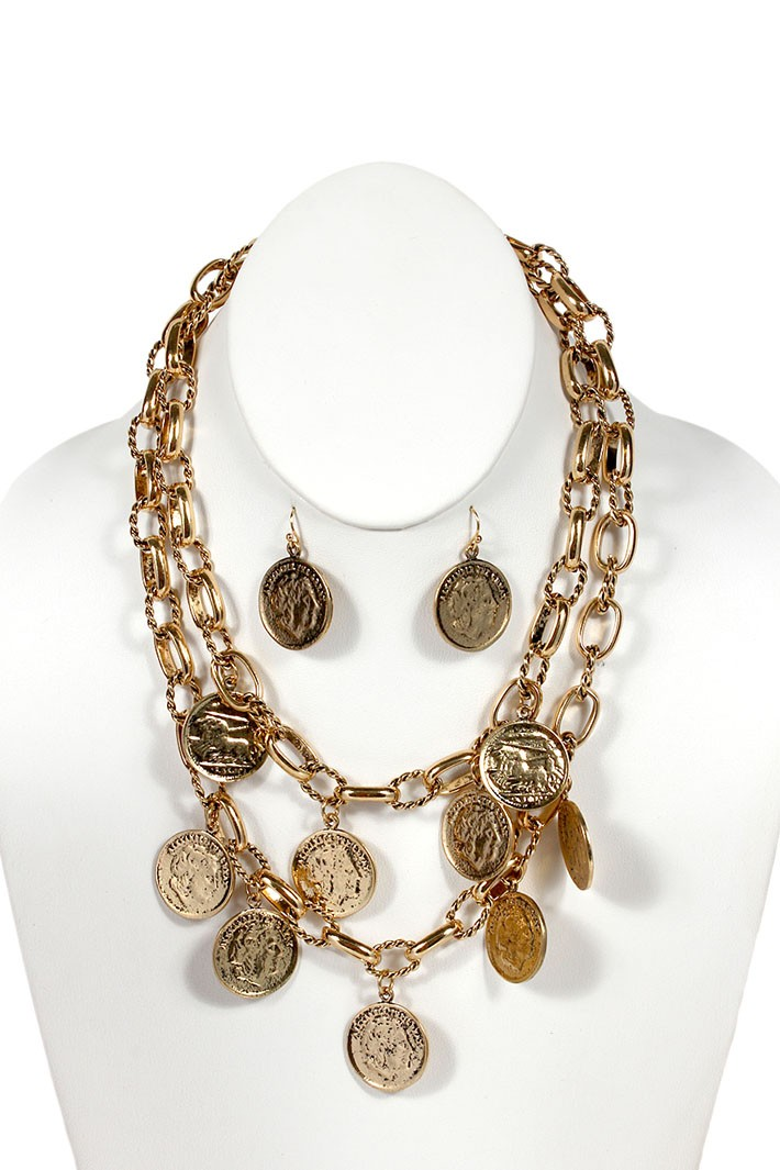 Double Strand Coin Necklace - Gold