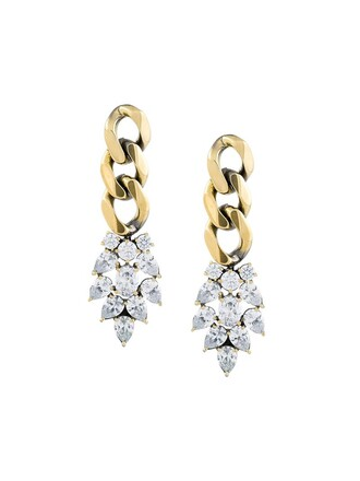 metallic women earrings white jewels