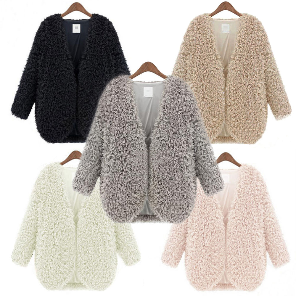 Womens Wool Coat Fluffy Fur Jacket Winter Warm Outwear Long Sleeve ...