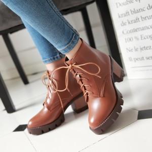 Women's Khaki Round Toe Lace Up Ankle Vintage Boots