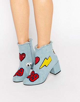 shoes denim embellished denim ankle boots patch embroidered asos