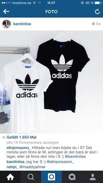 t-shirt adidas black white adidas shirt white t-shirt black t-shirt top
