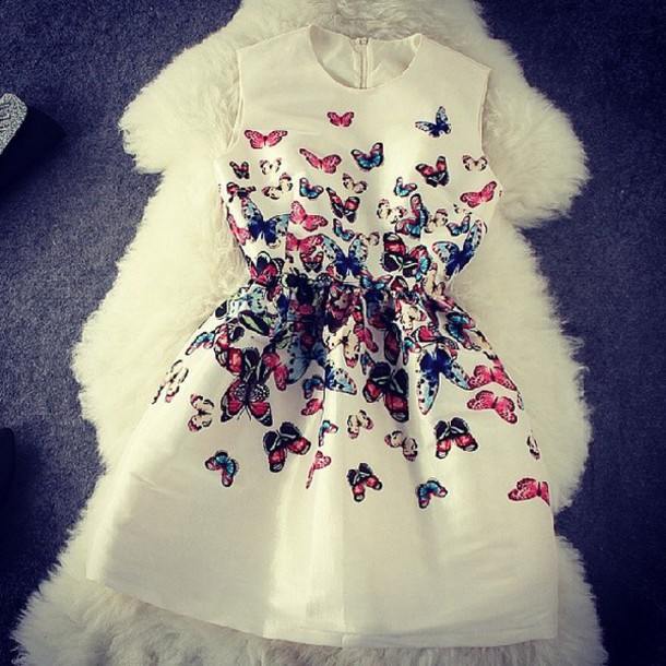 papillon dress butterfly dress butterfly's white dress girly white with butterflies butterfly color/pattern butterfly formal dress fashion