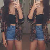 jacket,cardigan,top,shorts,black,High waisted shorts,shirt,crop tops,blazer,floral print blazer,cute outfits,sweater,kimono,vintage,tomboy,tank top,floral,70s style,hippie,indie,burgundy,denim,black vest,help?,blouse,bustier,boho,bohemian,cute,summer,casual,skirt,i phone,door,carpet,high wasted jean shorts