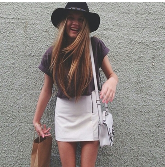 shirt top purple top fedora hat white skirt skirt white bag indie on point clothing