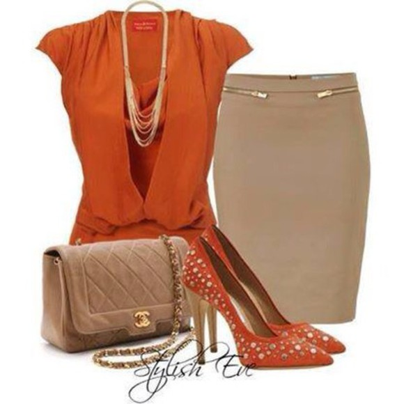skirt clutch high heels orange blouse necklace camaleonte outfits