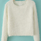 White long sleeve fluffy crop sweater - sheinside.com