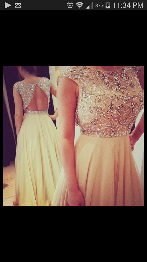 gold dress prom dress