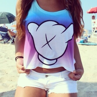shirt clothes jacket crop tops blue purple dip dyed disney mickey mouse ombre hand white tank top cute summer mickey mouse hands summer tank pastel freshtops