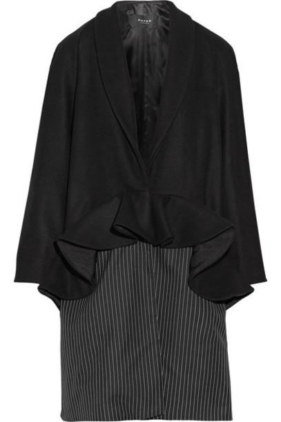 Paper London - Plot Ruffled Wool-blend And Pinstriped Twill Coat - Black