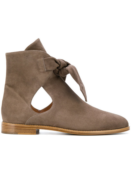 Unützer cut-out women ankle boots cut-out ankle boots leather suede brown shoes