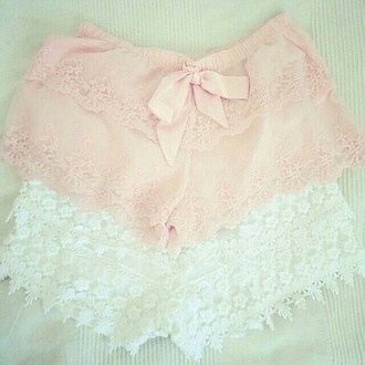 pants pink white rosy lace shorts sleep night sleepwear nightwear thin now girly cute pastel pale detail