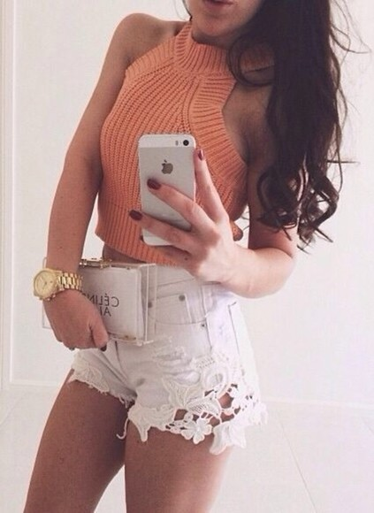 white crochet shirt denim shorts tank top