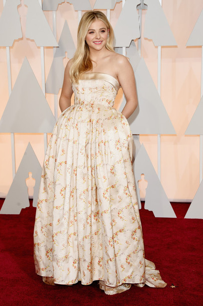 dress oscars 2015 strapless chloe grace moretz gown red carpet dress